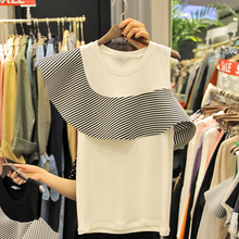 New 2017 Womens Tops Stripe wave shoulder design Crochet Shirts Sleeveless White Blouse Plus Roupas Femininas Branco Blusa Renda