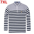 Big yards long sleeve stripe polo autumn Fertilizer increased lead polo nutty render unlined upper garment  loose 7 xl
