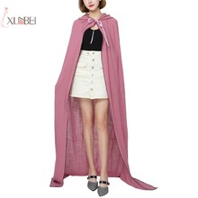 Women Adult Cotton Wedding Bridal Hooded Cape Long Cloak Accessories Medieval Robe Halloween Costume