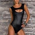 Trajes de Una Pieza atractivo Feminidad Piel Artificial Night Entertainment Venue Halter Jumpsuit # D831