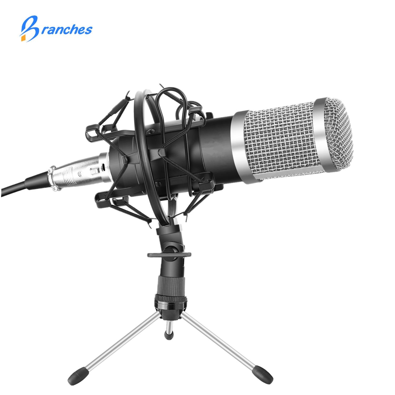 Профессиональный конденсаторный микрофон BM-800, в комплекте с микрофоном: микрофон для компьютера, ударное крепление, поролоновая крышка, ка...