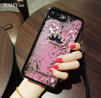 XSMYiss 3D Rhinestone Crown Phone Case For iPhone6 6s Plus Liquid flow sand Back Cover Soft Cases For iPhone X 8 7 6S Plus Coque