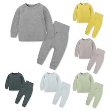 Теплый костюм комплект одежды для малышей, Детские подштанники, пижамы, нижнее белье Ночное белье с длинными рукавами осенне-зимняя хлопковая домашняя одежда для девочек, От 2 до 8 лет