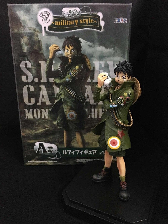 Anime 22CM ONE PIECE MONKEY D LUFFY RORONOA ZORO military style PVC Figure Collectible Toys