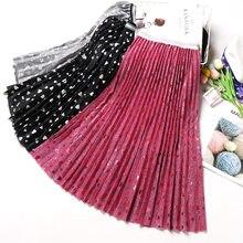 3584ad9ed28 2019 printemps nouveauté brillant soyeux plissé jupe taille haute Faldas  Largas Elegantes coeur imprimer dames jupes