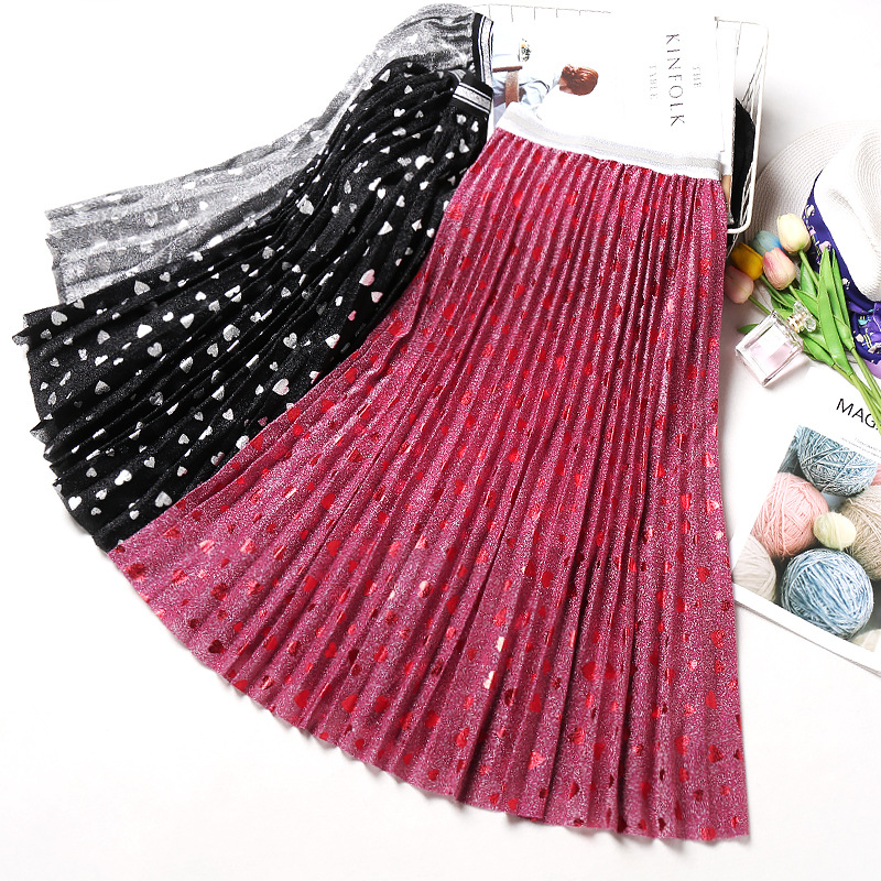 2020 Autumn New Arrival Bright Silky Pleated Skirt High Waist Faldas Largas Elegantes Heart Print Ladies Skirts Free Shipping