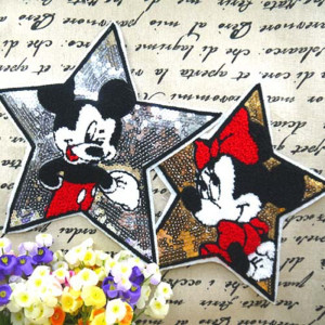 Five Star Mickey Minnie Sequins Sew On Patches for clothes DIY KidsT shirt Embroidered Paillette Patch Applique Clothing Crafts(China)