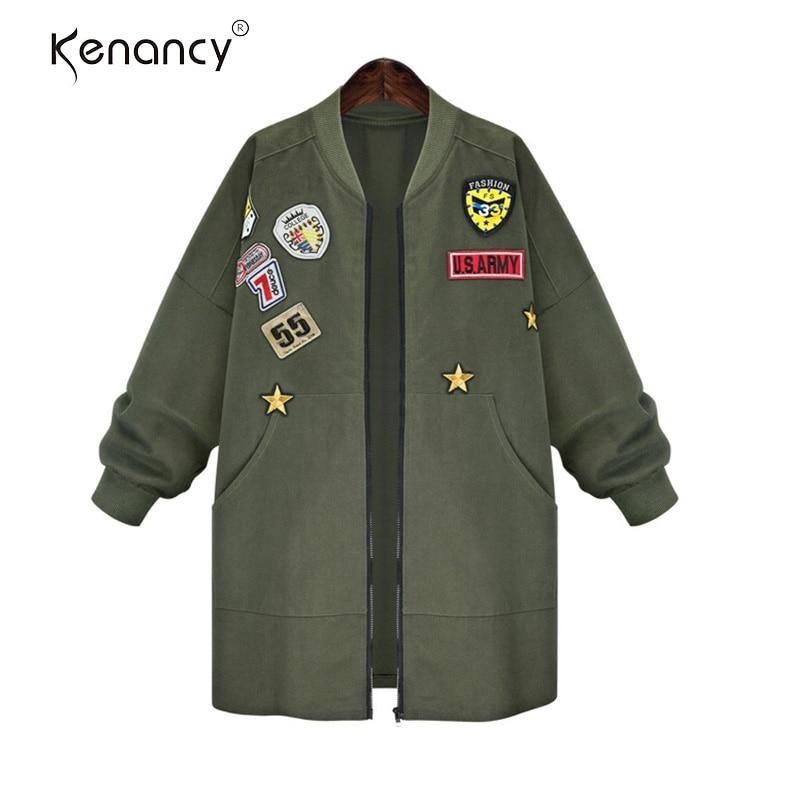 Bomber Automne Badges Imprimer 5xl Manteaux Femmes Long Green Jecket Arrivée Baseball Outwear army Plus Taille Kenancy Black Nouvelle Zipper Patché Mode 3d qEwFIFf