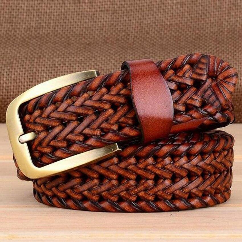 Дизайнерский известный бренд роскошный ручной вязки ремни женские мужские ремни мужской ремень кожаный Сплав Пояс на пряжке - Цвет: brown