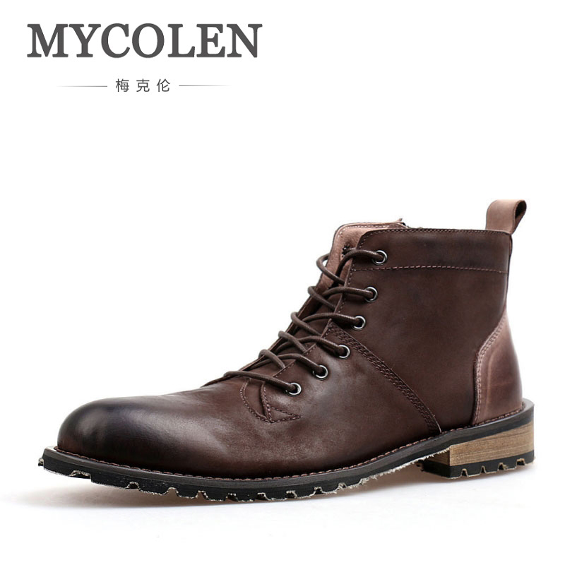 MYCOLEN Men Boots Genuine Leather Comfort Winter Boots Shoes Work Boots Men Fashion Ankle Snow Boots For Winter Shoes Men цены