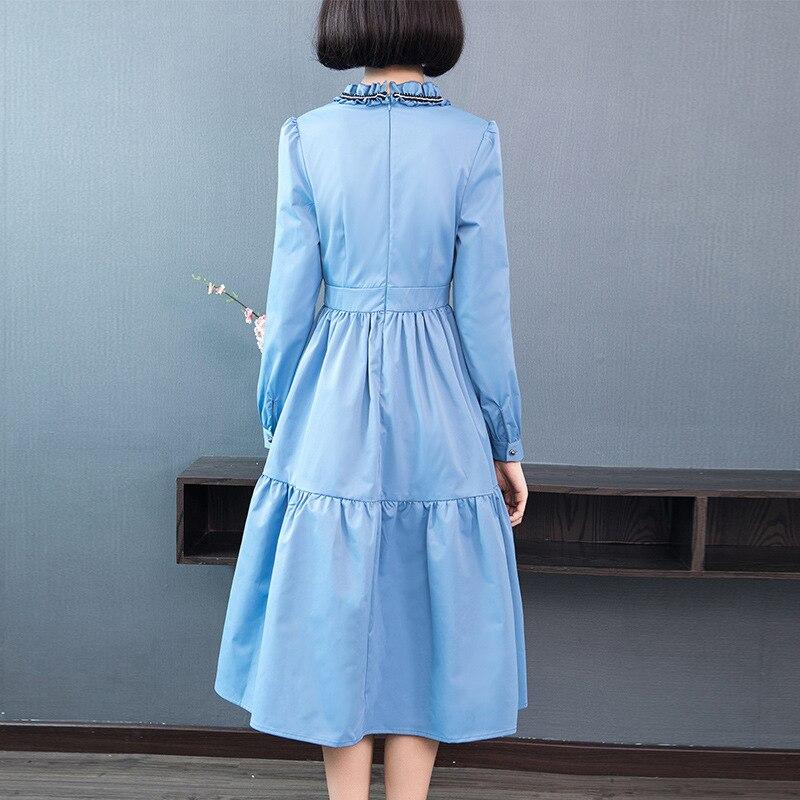 Perles Rockabilly Orange Col À Vintage Bleu Manches Blue Couleur Femmes Rouge 2019 Robe Automne Style Longues red Printemps Princesse Volants fOqwR