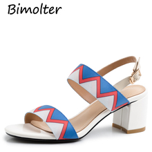 Bimolter New Print Sandals Women thick Heels Chunky High Heel Shoes ladies Summer Buckle Fashion Wear FC065