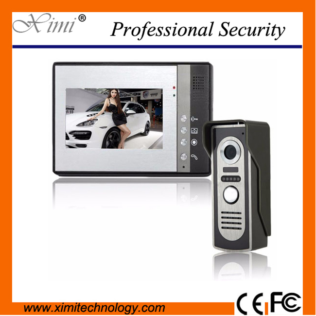 Wall mounted wired video door bell 7 inch TFT color screen with IR camera with night vision handsfree intercom video door phone 7 inch tft touch screen lcd color video door phone doorbell wall mounted intercom system night vision eye camera doorphone