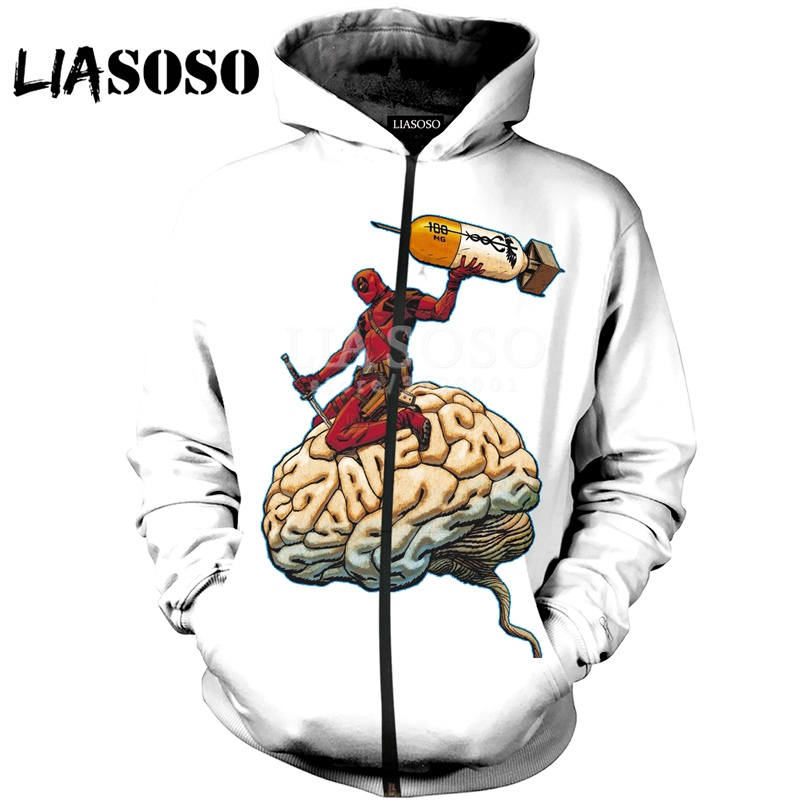 LIASOSO/пуловер с капюшоном и 3D принтом для женщин мужчин Дэдпул Jackass The Darth King