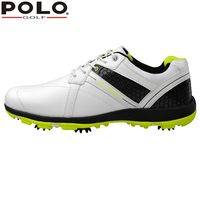 Brand POLO Sport Golf Mens Golf Sports Spiked Genuine Leather Shoes Light Weight Spikes Breathable Steady