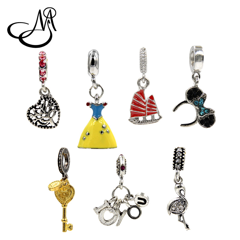 Yiman 10 pcs/lot Trendy Princess Dress Lovely Dangle Charms For Jewelry Making Pendants Floating Charms Key Chains Accessories