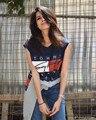 2016 venta Caliente de las mujeres de Moda Sólido Camiseta Sin Mangas de Las Mujeres del Otoño Tops Camisetas de Algodón Azul Marino de La Camiseta SML w801