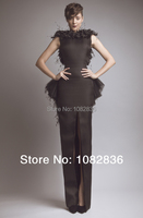 Saudi Arabia Style 2014 Ashi Studio Sheath Gown High Neck Sleeveless Floor Length Front Slit Backless