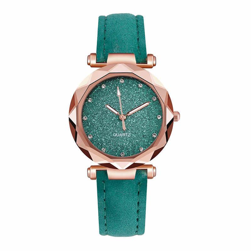 レディースファッション韓国のラインストーンローズゴールドクォーツ時計女性ベルト腕時計大壁時計機構 Relojes パラ Mujer WD