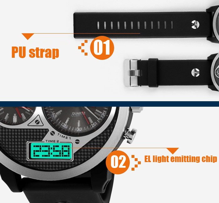 Skmei 1033 Quartz Digital Male Watch Multi Display Military Sports Wristwatch with PU Band