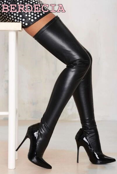 Hot Selling Black Leather Pointed Toe long boots Over The Knee thigh high Boots Sexy Tight High women shoes Free Shipping hot boots women sexy black thigh high boots peep toe soft leather back zip high heels over the knee boots gladiator sandal boots