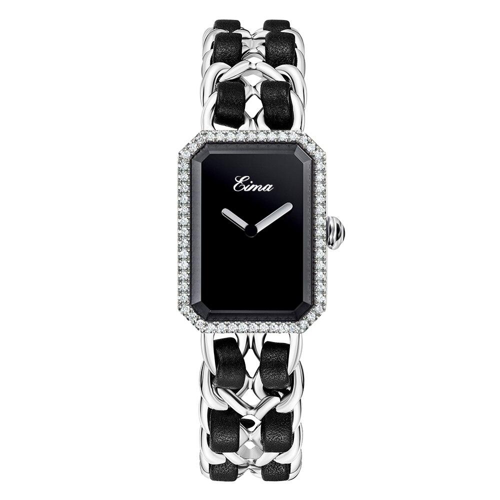 EIMA Luxury Women Stainless Steel Leather Bracelet Quartz Wristwatches Fashion Casual Lady Rhinestone Watches Feminino Relojes цена
