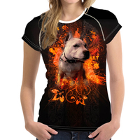 Noisydesigns Pitbull Dog Fire Animals Funny Women T shirt Printed Pictures Streetwear Clothing Hip Tope Mans T Shirt Tops Tees