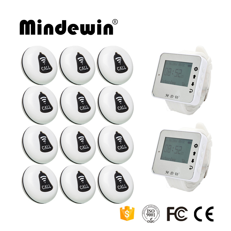 Mindewin Restaurant Wireless Calling System 2PCS Wrist Watch Pager M-W-1 and 12PCS Table Call Button M-K-1 wireless calling system hot sell battery waterproof buzzer use table bell restaurant pager 5 display 45 call button