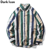 Striped Turn down Collar Men's Shirts Long Sleeve 2018 Autumn Front Pocket Casual Shirts Men 2 Colors