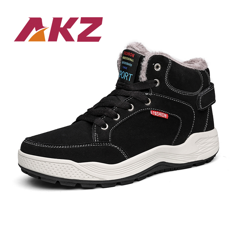 AKZ 2018 New Fashion Winter Warm Snow boots High Quality suede Ankle Boots for man Male Work shoes Round toe Big size 39-48