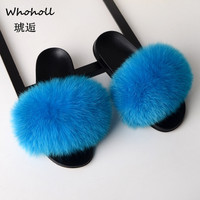Whoholl Fur Slippers 2019 Women Real Fox Fur Slides Home Furry Flat Sandals Female Cute Fluffy House Shoes Woman Brand Luxury 44