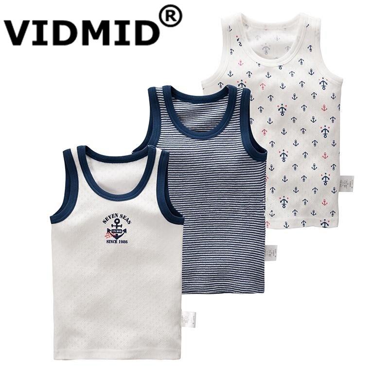 VIDMID T-Shirt Tanks Boys Sleeveless Summer Kids Children Cotton Vest 4003 Outerwear