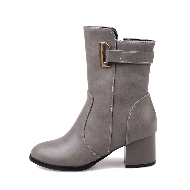 2016 Brand New Winter Sales Women Ankle Riding Boots Black Beige Gray Warm Lady Nude Shoes Chunky Heel EAC52 Plus Big size 45 10 brand new hot sales women nude ankle boots red black buckle ladies riding spike shoes high heels emb08 plus big size 32 45 11