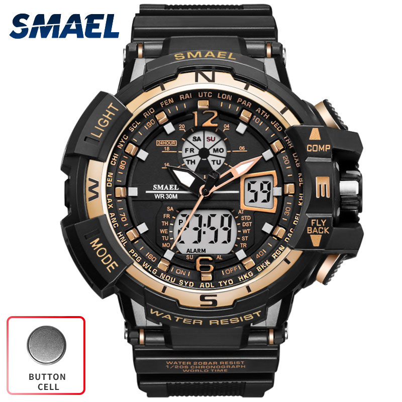 SMAEL Watch Men Digital Sport Waterproof Clock Gold Fashion Luxury Brand Chronograph Quartz Electronic Military Wrist