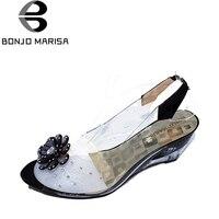 BONJOMARISA Büyük Boyutu 34-43 Fabrika Fiyat Roma şık yüksek kalitede moda kama topuk sandalet elbise ayakkabı sandalet XB140