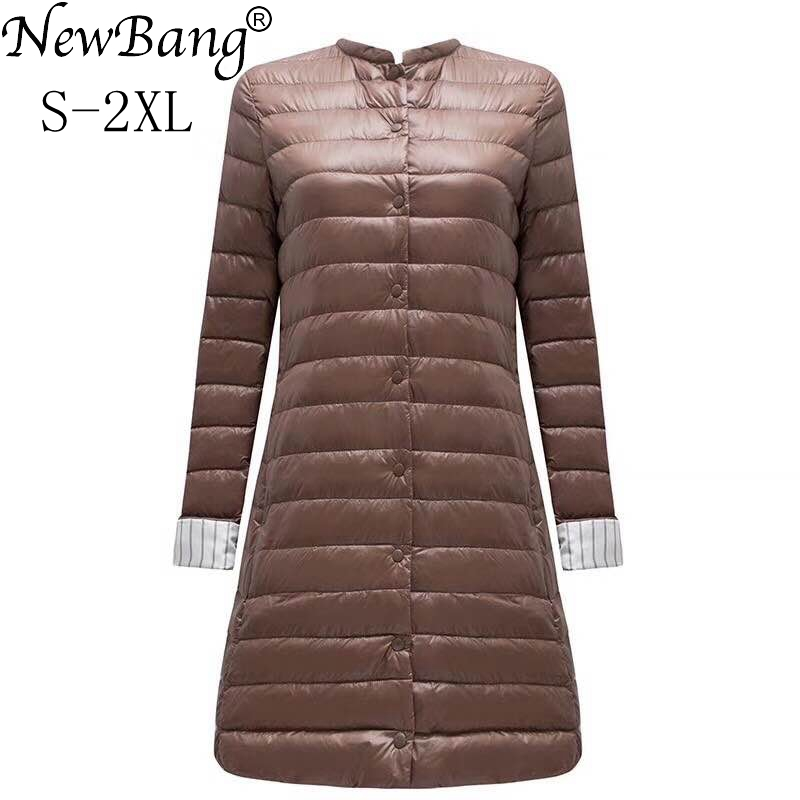 NewBang Ultra Light Down Jacket Women Portable Female Jacket  Winter Long Feather Slim Parkas Stand Collar Womens Down Jackets