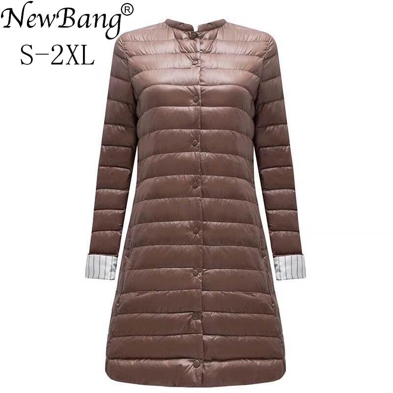 NewBang Ultra Light Down Jacket Women Portable Female Jacket  Winter Long Feather Slim Parkas Stand Collar Womens Down Jackets