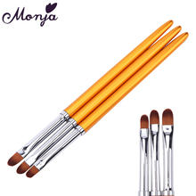 2 Style Nail Art Gold Flat Head Painting Brush Acrylic Gel Polish Extension Carving 3D French Liner Grid Flower DIY Drawing Pen