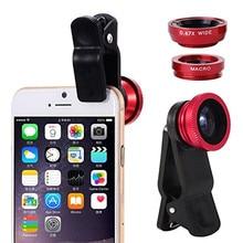 Shuohu 3in1 Universal Mobile Phone Lenses Fish Eye Lens Wide Angle Macro Lens for Iphone 7 6 S 5S SE Samrtphone Fisheye Lentes