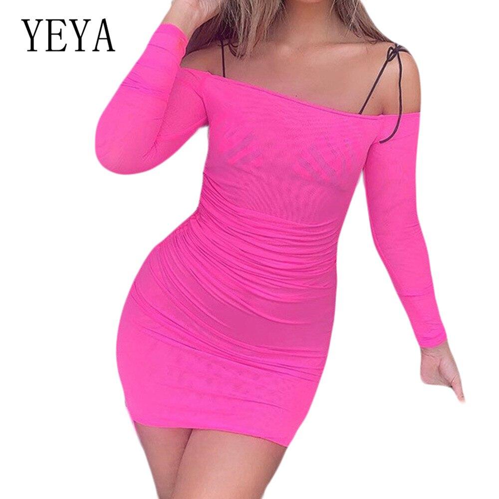 YEYA Sexy Drawstring Bag Hip Dress Women Off Shoulder Long Sleeve See Through Mesh Summer Elegant Party Female Clothing