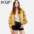 Yellow Linen Cotton Jacket Women Geometric O-Neck Belt Spring Jacket Women Embroidery Party Casual Autumn Office Coat Women