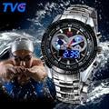 TVG Aço Inoxidável Luxo Moda banda Preto LED Analógico dual time zona Digitais Relógio Do Esporte dos homens À Prova D' Água 3ATM relojes hombre
