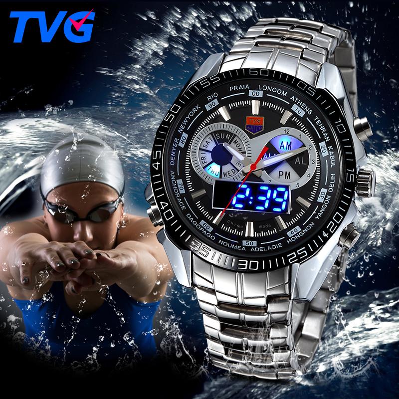 Prix pour TVG En Acier Inoxydable De Luxe bande De Mode Noir Montre Numérique Analogique LED double fuseau horaire de Sport Hommes 3ATM Étanche relojes hombre