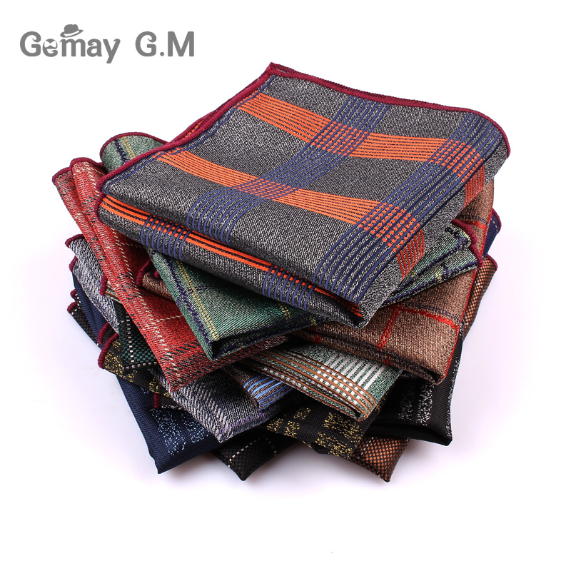 New Polyester Woven Handkerchief For Men Business Suit Pocket Square Mens Hankies Classic Design Plaid Pocket Towel Hanky