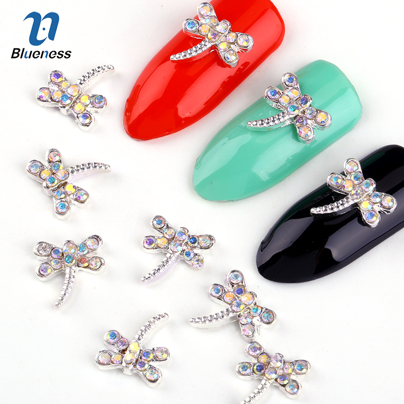 3d Nail Art Decorations 10pcs colorful Dragonfly  with Rhinestones, Nail Sticker Charms Jewelry for Nail Gel/Polish Tools TN575 0 8mm 20000pcs colorful mini nail art beads gardient rhinestones 3d tip decoration for nail uv gel manicure nail art decorations