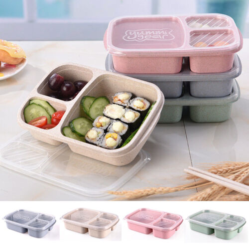 Plastic <font><b>Lunch</b></font> <font><b>Box</b></font> <font><b>Food</b></font> <font><b>Container</b></font> Bento <font><b>Lunch</b></font> Boxes With 3-Compartment Microwave image