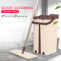 Flat Squeeze Mop and Bucket Hand Free Wringing Floor Cleaning Mop Microfiber Mop Pads Wet or Dry Usage on Hardwood Laminate Tile Mops     -