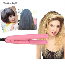 Professional Mini Pink Ceramic Electronic hair straighteners 100~240V curling irons curler Straightening Free Shipping