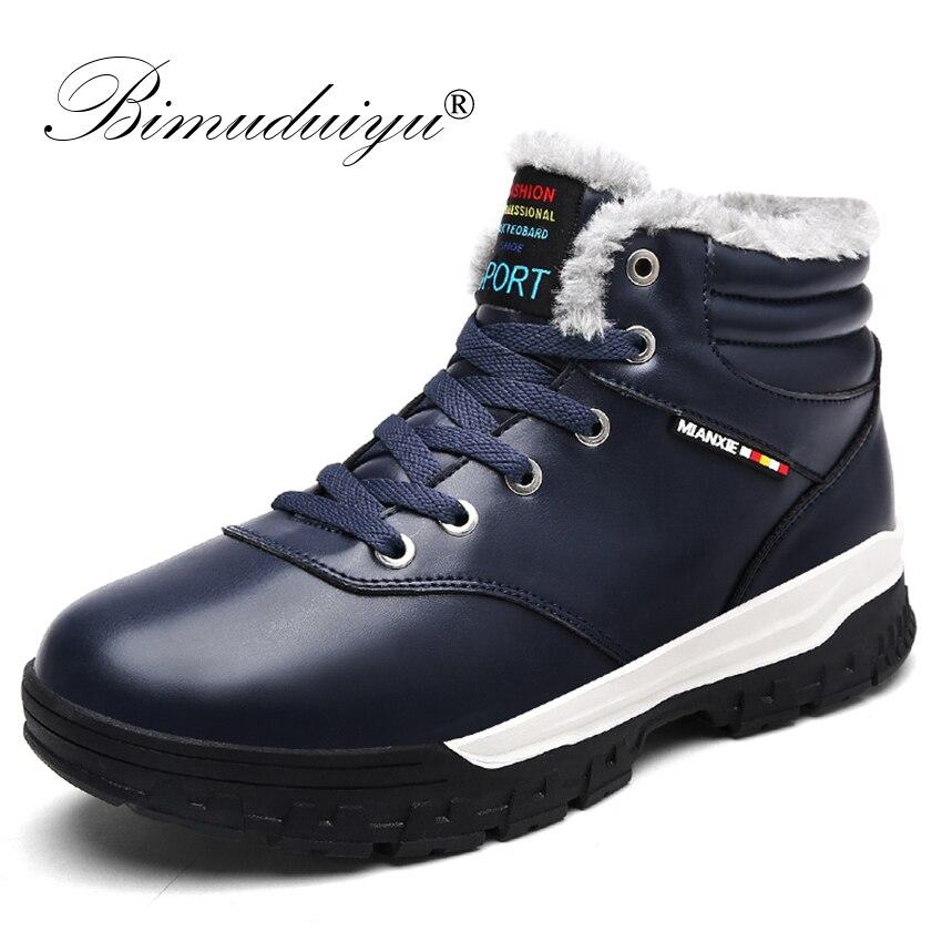 BIMUDUIYU Super Warm Winter Men Boots High Quality Plus Fur Snow Boots Men Waterproof Soft Leather Footwear Shoes Men Ankle Boot hot super warm men boots genuine leather snow boots plus fur men ankle boots waterproof winter shoes