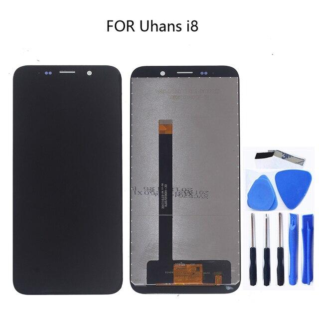 Uhans ため i8 オリジナル lcd タッチスクリーンデジタイザアセンブリのための Uhans i8 液晶画面携帯電話アクセサリー送料無料